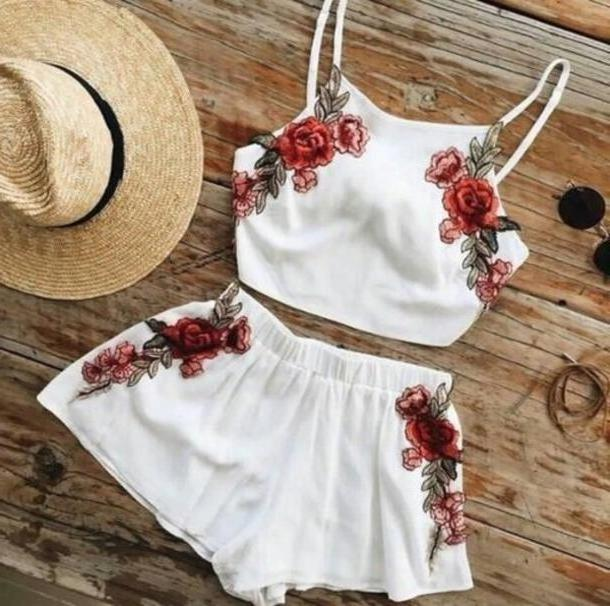 Floral Dress White Shorts Piece Short White Red  Embroidered Set Rose Romper Pink Flowers Floral Romper Piece Summer Spring Shirt Floral Flowers Trendy Blouse Tank Bottoms High Waisted Shorts Piece D cover image