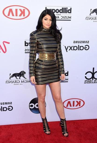 Kylie-jenner Dress Black Dress Billboard Music Awards Kylie Jenner Stripes Sandals Shoes Jenner Gold Black Black Dress Gold Details Gold Dress Sey Dress Sey Mini Dress Keeping Kardashians cover image