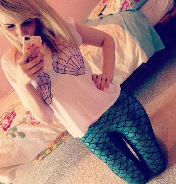 Leggings Pants Multi Shirt Mermaid Tank Pretty Pants Leggings T Shirt cover image