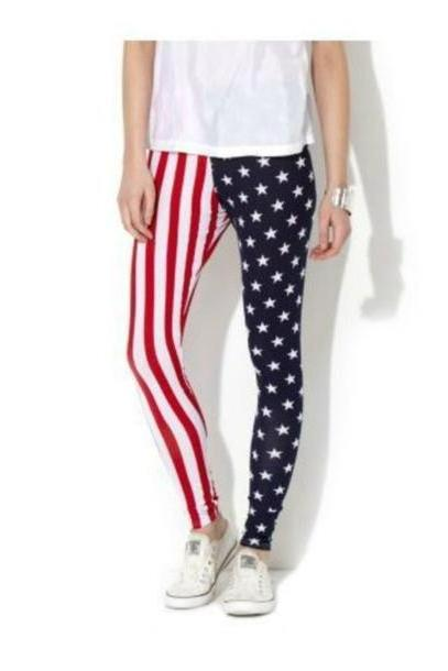 Leggings Pants Multi Pants Blue Printed Leggings American Flag Red White cover image