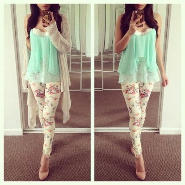 Leggings Pants Multi Pants Mint Floral Print Skirt Shirt Blue Pretty Cute Floral Tank Sweater Tumblr Clothes White Heels High Heels Floral Tank Blouse Leopard Spring Mint Green Shawl Clothes Jeans Jack cover image