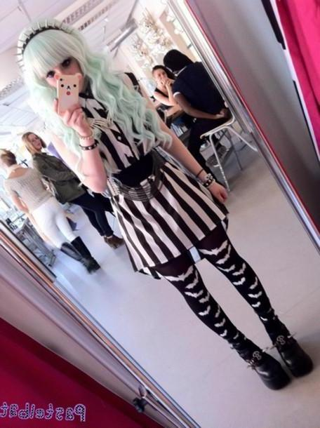 Leggings Pants Black Blouse Striped Dress Striped Shirt Pastel Goth Pants Hat Shoes Dress Pastel Kawaii Cute Creepy Grunge Soft Grunge Black Dark Goth Stripes Spikes Phone Cover Belt Kawaii Grunge Kawa cover image