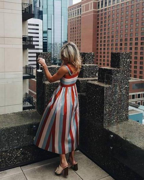 Stripes Shoes Neutrals Dress Tumblr Midi Dress Stripes Striped Dress Sandals Sandal Heels High Heels Heels Mules Shoes cover image