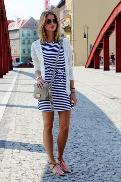 Stripes Shoes Multi Cardigan Shoes Bag Sunglasses Jewels Blogger Stripes Striped Dress Summer Outfits Summer Dress Sandals Watch Beach Clutch Shoulder Bag Mini Bag Grey Bag White Jacket Mini Dress cover image