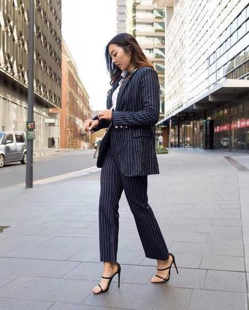 Stripes Shoes Multi Jacket Tumblr Blazer Blue Blazer Stripes Pants Striped Pants Blue Pants Power Suit Sandals Sandal Heels High Heel Sandals Work Outfits Office Outfits Shoes cover image