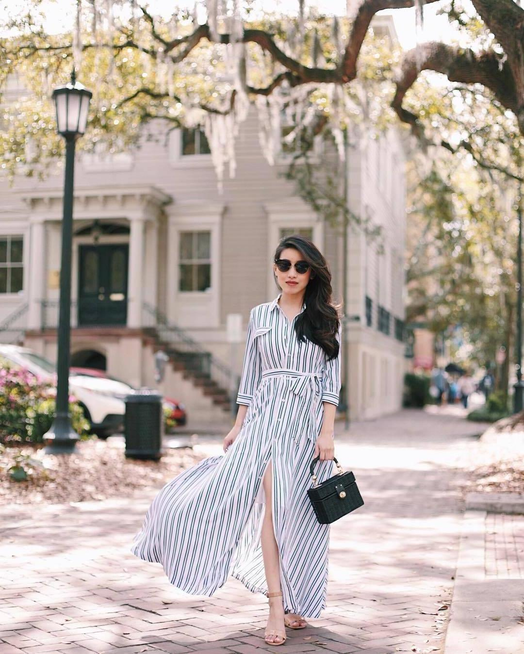 Stripes Dress Blue Dress Shirt Dress Long Dress Stripes Handbag Black Bag Sandals cover image