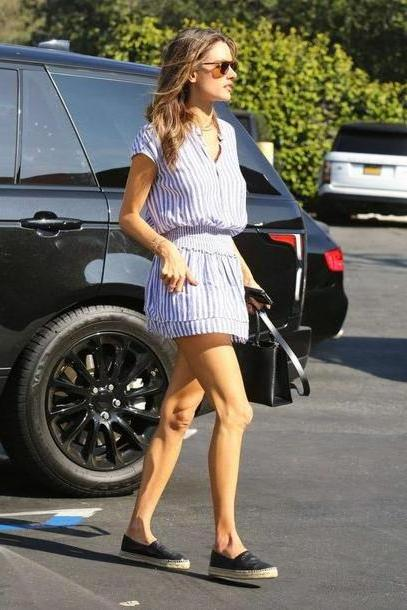 Stripes Dress Blue Dress Alessandra Ambrosio Mini Dress Stripes Striped Dress Model Duty cover image