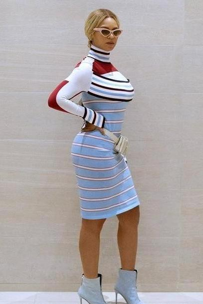 Stripes Dress Blue Dress Midi Dress Stripes Beyonce Celebrity cover image