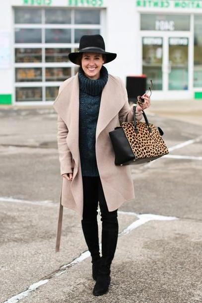 Stripes Shoes Black Sequins Stripes Blogger Coat Hat Sweater Leggings Shoes Bag Sunglasses Grey Cable Knit Sweater Turtleneck Turtleneck Sweater Black Hat Nude Coat Leopard Print Boots Black Boots cover image