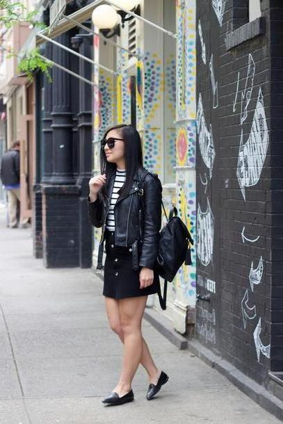 Stripes Shoes Black Looks Lau Blogger Sunglasses Leather Jacket Black Skirt Button Skirt Black Bag Striped Stripes Black Backpack Black Flats School Black Leather Jacket Mini Skirt Black Sunglasses cover image