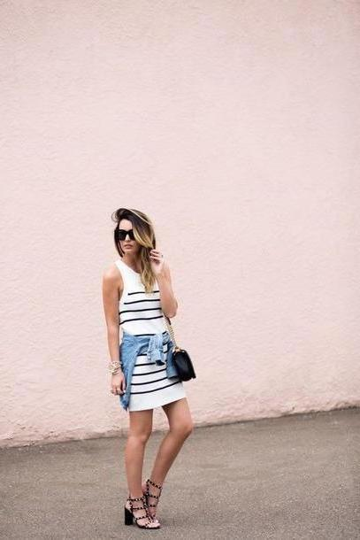 Stripes Shoes Black Things Lovely Blogger Bag Sunglasses Jewels Striped Dress Mini Dress Denim Jacket Black Bag Mini Bag Thick Heel Summer Dress Stripes Valentino Rockstud Sandals Sandal Heels Studded cover image