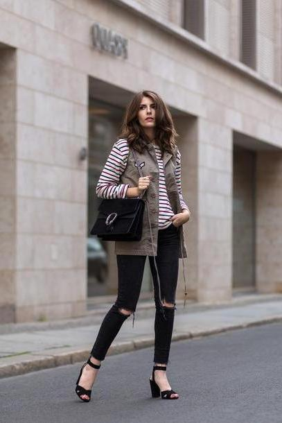 Stripes Shoes Black Simple Et Chic Blogger Jacket Bag Shoes Long Sleeves Stripes Sleeveless Black Bag Black Jeans Ripped Jeans Thick Heel Black Heels Streetstyle Black Ripped Jeans Mango Gucci Sandal cover image