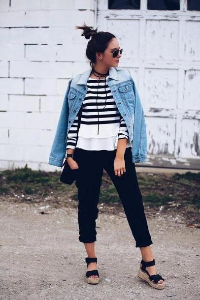 Stripes Shoes Black Fashionably Kay Blogger Bag Jacket Sunglasses Jewels Denim Jacket Stripes Striped Long Sleeves Black Pants Wedges Black Bag cover image