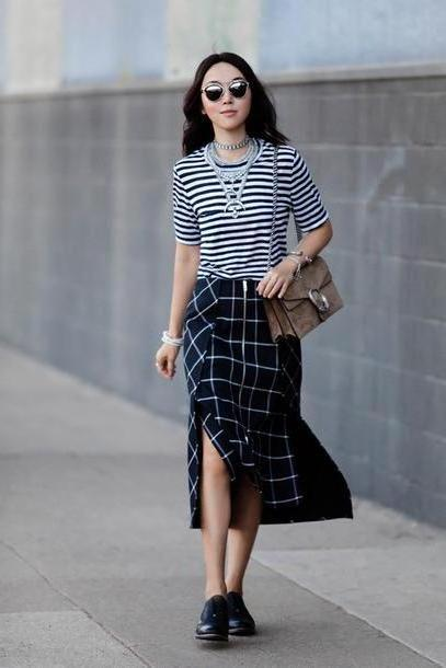 Stripes Shoes Black Fit Fab Fun Mom Blogger Bag Shoes Sunglasses Jewels Mai Skirt Slit Skirt Zipped Skirt Striped Stripes Statement Necklace Shoulder Bag Brown Bag Double Slit Skirt Checkered Necklac cover image