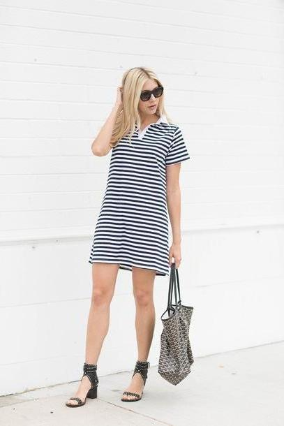 Stripes Shoes Black Modern Ensemble Blogger Dress Shoes Bag Sunglasses Stripes Striped Dress Mini Dress Wedges Black Heels Black White T Shirt Dress Short Sleeve Dress Black Sunglasses Mid Heel Sandal cover image