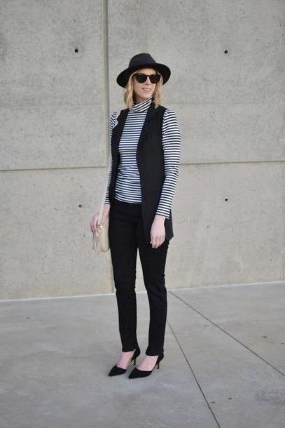 Stripes Shoes Black Straight Style Blogger Jacket Jeans Shoes Bag Striped Turtleneck Turtleneck Stripes Striped Felt Hat Hat Black Hat Sunglasses Black Sunglasses Black Pants Vest Black Vest cover image
