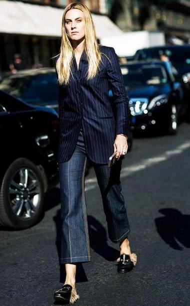 Stripes Shoes Black Shoes Gucci Mules Mules Black Shoes Jeans Blue Jeans Flare Jeans Blazer Striped Blazer Blue Blazer Streetstyle Gucci Princetown Stripes cover image