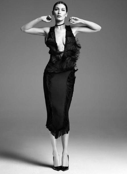 Bella-hadid Dress Black Dress Plunge V Neck Plunge Dress Midi Dress Pumps Bella Hadid Model Jewels Choker Necklace Black Choker Black Velvet Choker Choker Necklace Jewelry cover image