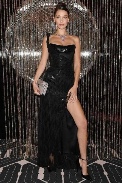 Bella-hadid Dress Black Dress Bella Hadid Slit Dress Pumps Gown Prom Dress Bustier Dress Fashion Week Celebrity Model cover image