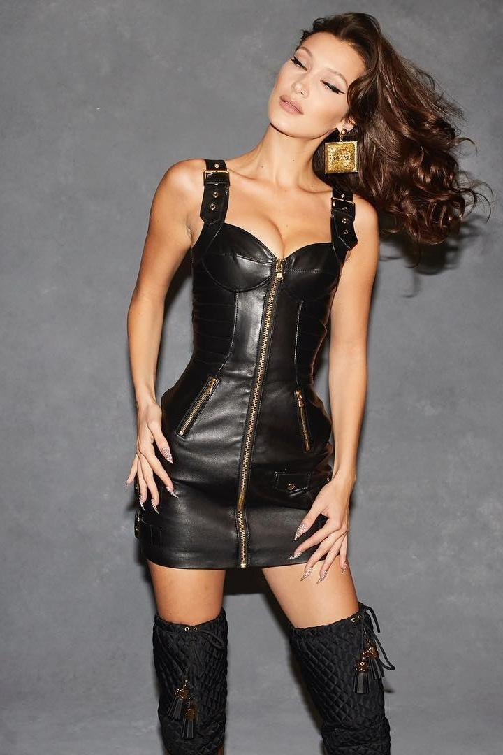 Bella-hadid Dress Black Dress Celebrity Model Bella Hadid Leather Leather Dress Zip cover image