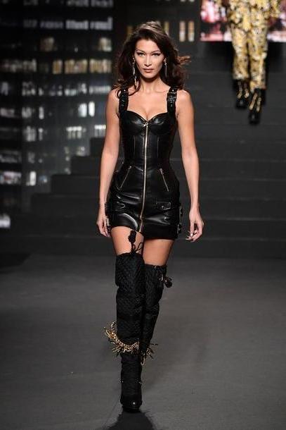 Bella-hadid Dress Black Dress Fall Outfits Boots Knee Leather Bella Hadid Model Runway Mini Dress cover image