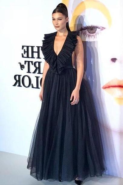 Bella-hadid Dress Black Dress Gown Prom Dress Mai Dress Tulle Dress Black Dress Plunge Dress Plunge V Neck Backless Backless Dress Bella Hadid Model Make Hairstyles cover image