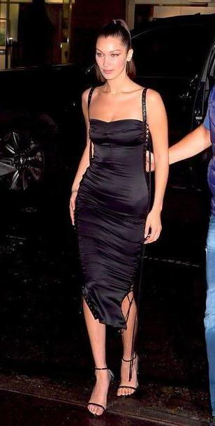 Bella-hadid Dress Black Dress Black Dress Black Midi Dress Sandals Sandal Heels Bella Hadid Model Duty Lace Lace Dress Bustier Dress cover image