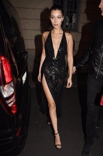 Bella-hadid Dress Black Dress Gown Slit Mai Black Dress Bella Hadid Milan Fashion Week      Plunge Dress Sey Dress Prom Dress Model cover image