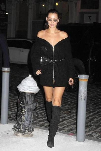 Bella-hadid Dress Black Dress Shoulder Sweater Dress Cardigan Black Boots Nyfw      Ny Fashion Week      Streetstyle Model Duty Mini Dress Belt Bella Hadid cover image