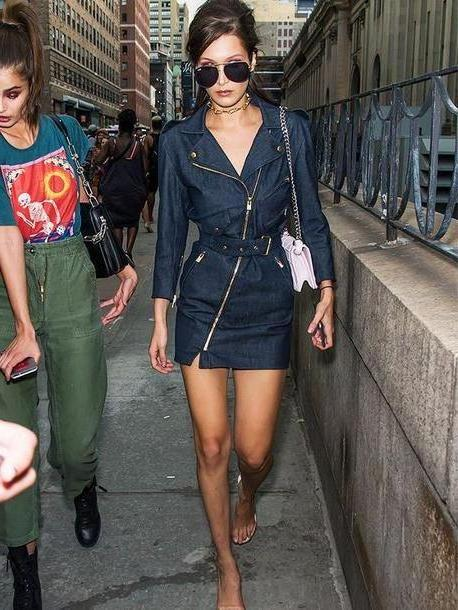 Bella-hadid Dress Black Dress Jean Dress Bella Hadid Streetstyle Denim Sunglasses Spring Outfits cover image