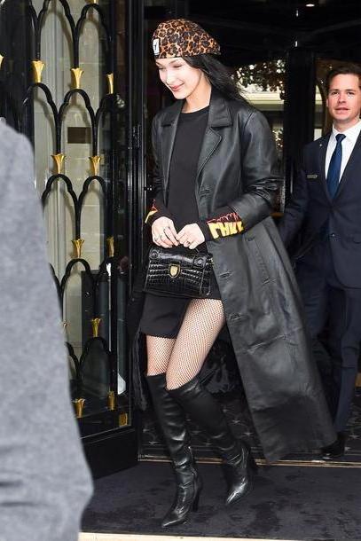Bella-hadid Dress Black Dress Sweatshirt Coat Streetstyle Model Duty Bella Hadid Hat Beret Paris Fashion Week      Fashion Week cover image