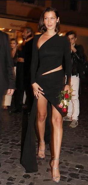 Bella-hadid Dress Black Dress Asymmetrical Asymmetrical Dress Black Dress Bella Hadid Model Duty cover image