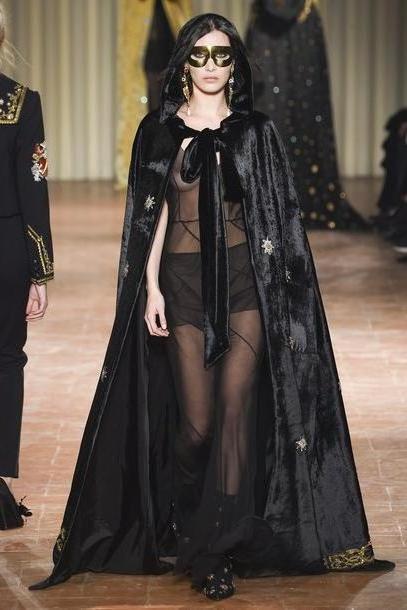 Bella-hadid Dress Black Dress  Dress Black Dress Gown Bella Hadid Model Runway Cape Milan Fashion Week      Fashion Week      Alberta Ferretti cover image