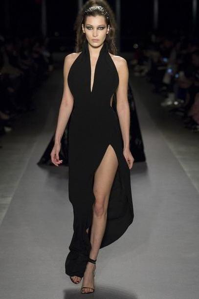 Bella-hadid Dress Black Dress Slit Dress Bella Hadid Model Runway Gown Plunge Dress Plunge Neckline Brandon Mawell Ny Fashion Week      Nyfw cover image