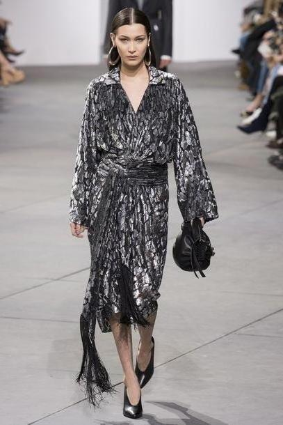 Bella-hadid Dress Black Dress Bella Hadid Model Runway Michael Kors Nyfw      Fashion Week      Wrap Dress Silver cover image