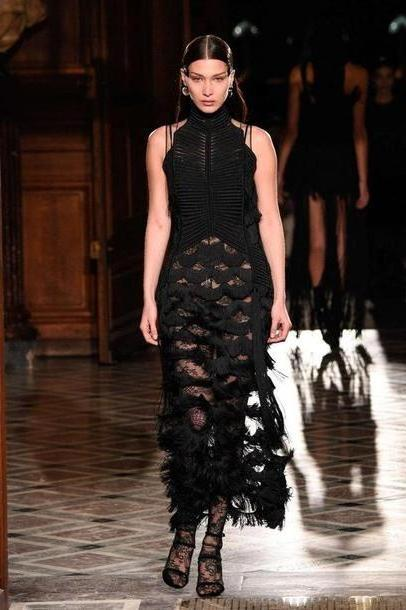 Bella-hadid Dress Black Dress Black Midi Dress Pumps Givenchy Dress Runway Bella Hadid Fashion Week      Fashion Week cover image