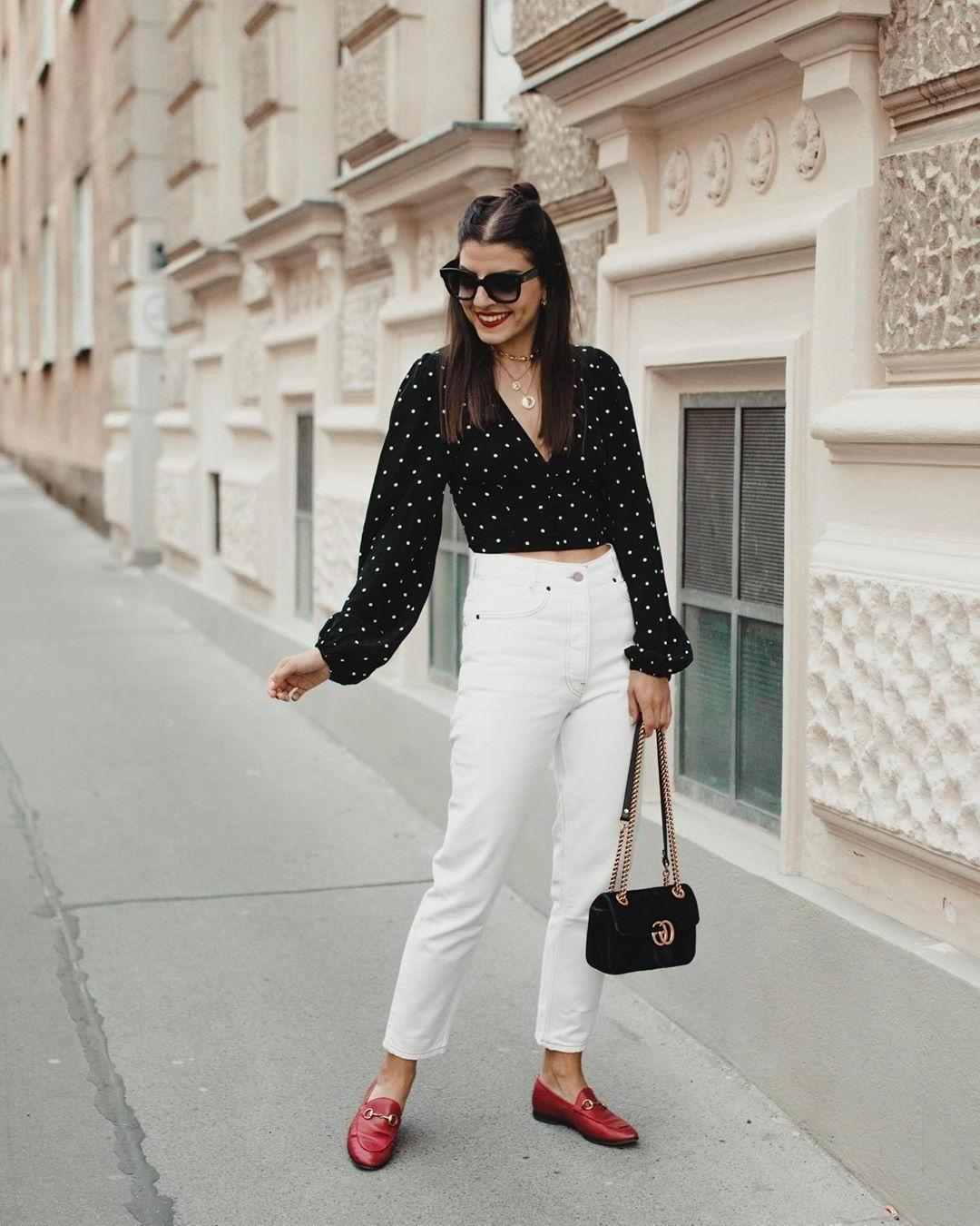 Top Black Polka Dots Crop Tops Black Jeans White Jeans cover image
