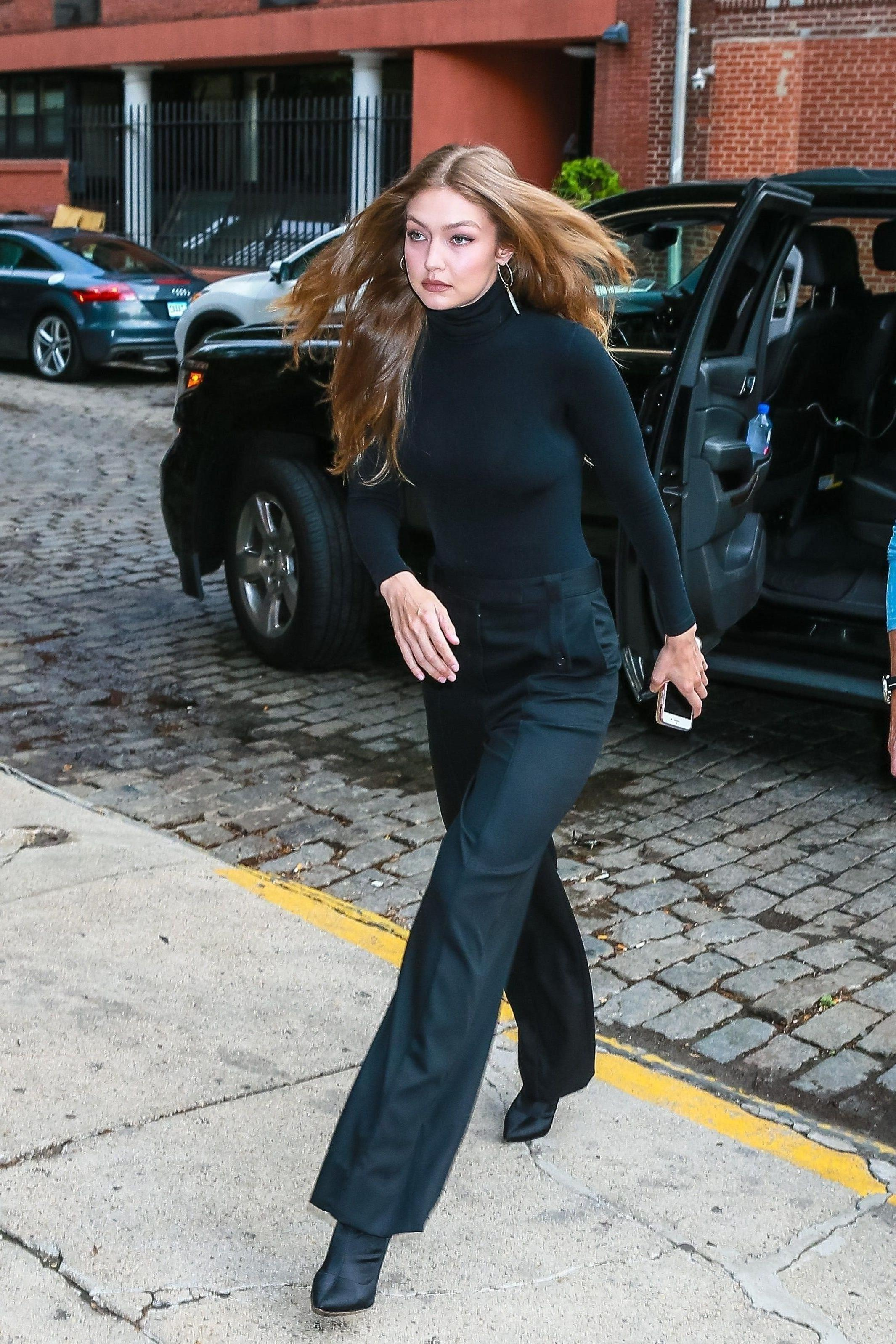 Top Black Turtleneck Pants Gigi Hadid Model Duty Black cover image