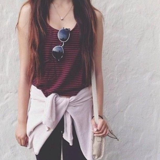 Top Brown Crop Tops Black Red Black Red Brown Hair Sunglasses Cardigan Blouse Vintage Tank Masala Pretty Low Bag Stripes Dark Red cover image