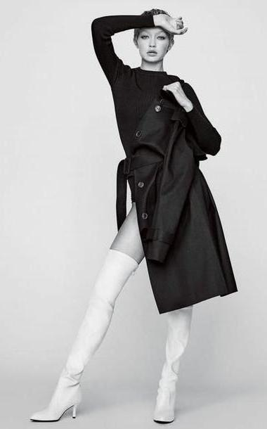Gigi-hadid Shoes Black Shoes Boots Knee Knee Boots Editorial Gigi Hadid Coat Trench Coat Model cover image