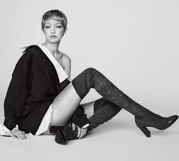 Gigi-hadid Shoes Black Shoes Boots Knee Knee Boots Gigi Hadid Model Editorial cover image