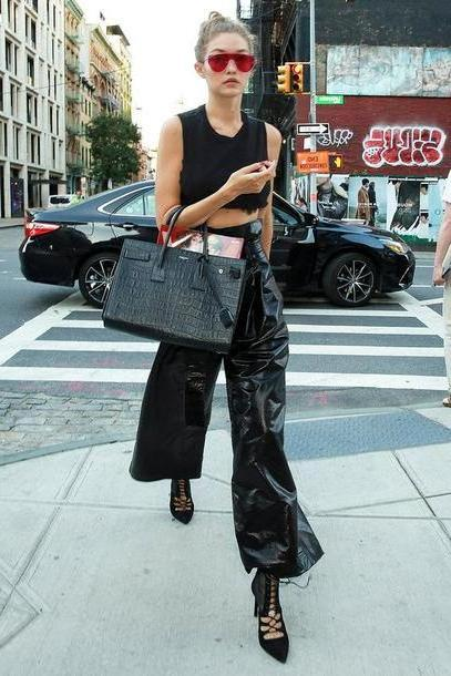 Gigi-hadid Shoes Black Shoes  Crop Tops Black Gigi Hadid Wide Leg Pants Sunglasses Streetstyle Ny Fashion Week      Fashion Week cover image