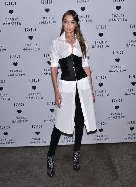Gigi-hadid Shoes Black Shirt Shirt Dress Gigi Hadid Pants Ankle Boots Model Bustier Shoes cover image