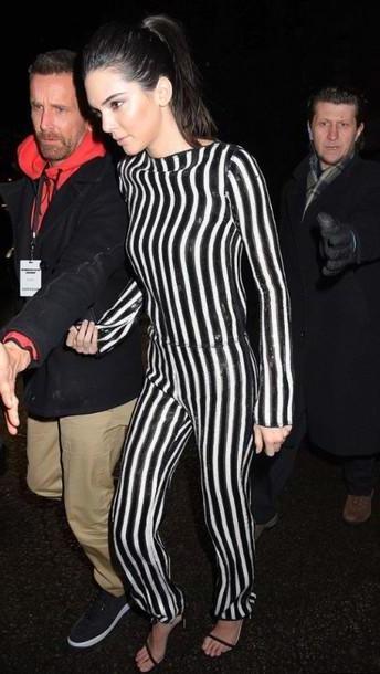 Kendall-jenner Shoes Black Jumpsuit Sequins Stripes Kendall Jenner Sandals Shoes cover image