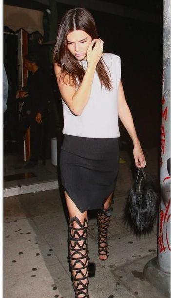 Kendall-jenner Shoes Black Pencil Skirt Kendall Jenner Gladiators Knee High Gladiator Sandals Kardashians cover image