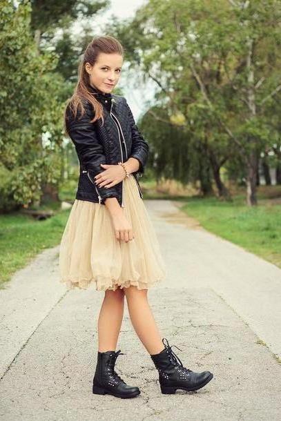 Skirt Beige Iemmafashion Skirt Jacket Shoes Jewels cover image