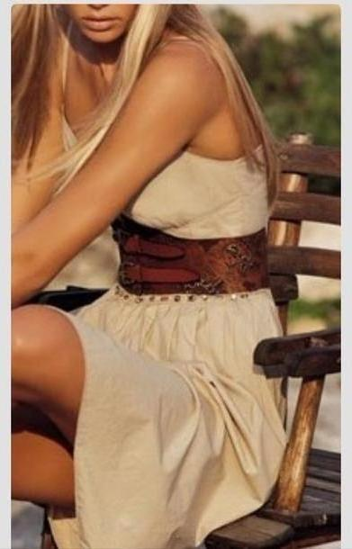 Dress Beige Dress Country Dress Belted Dress Summer Dress Country Boho Dress Belt Boho Dress Belt cover image