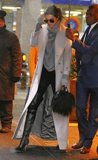 Kendall-jenner Shoes Black Shoes Boots Knee Boots Coat Sweater Kendall Jenner Purse Cardigan cover image