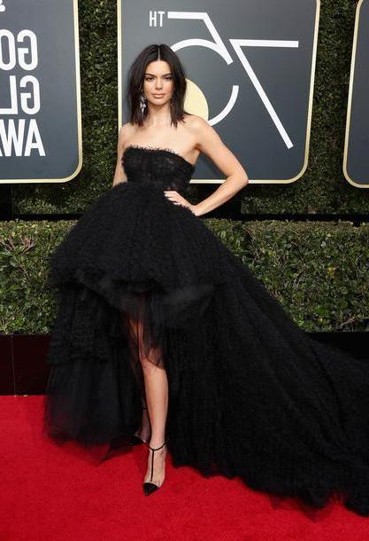 Kendall-jenner Shoes Black Dress High Low Dress Kendall Jenner Kardashians Model Duty Tulle Dress Gown Prom Dress Golden Globes      Pumps Shoes cover image