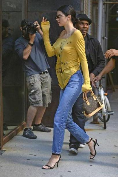 Kendall-jenner Shoes Black Shoes Sandals Sandal Heels  Long Sleeves Kendall Jenner Kardashians Model Duty Jeans Denim cover image